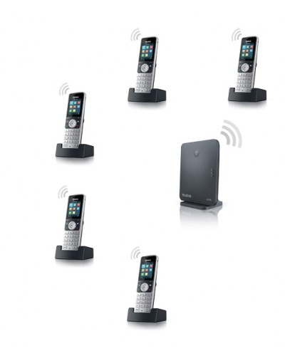 Yealink W53P-W53H — база x 1, трубка x 5 — Комплект беспроводной DECT SIP-телефон с радиотрубками