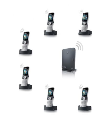 Yealink W53P-W53H — база x 1, трубка x 6 — Комплект беспроводной DECT SIP-телефон с радиотрубками